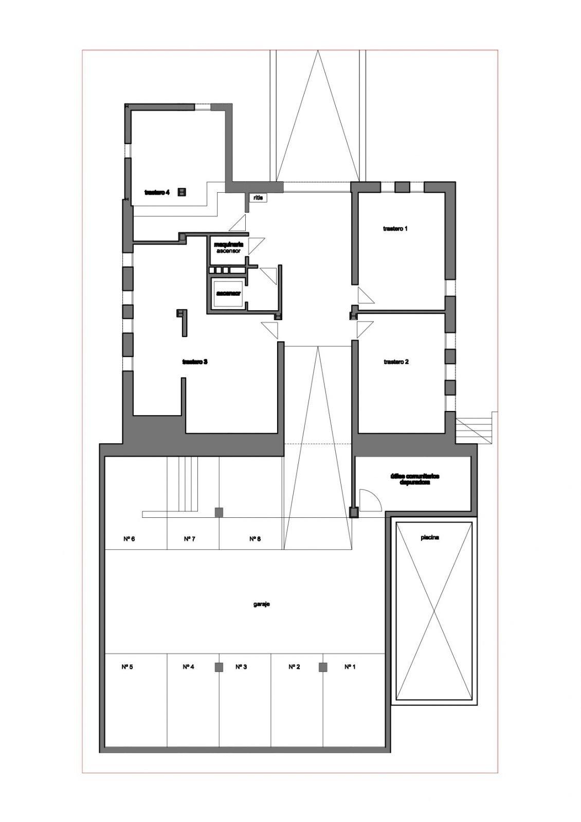 Plano garaje (nº 6 y 7) y trastero (nº 2)
